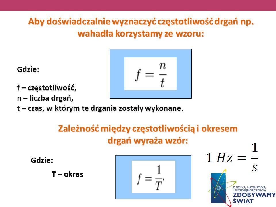 Aby doświadczalnie wyznaczyć częstotliwość drgań np. wahadła korzystamy ze wzoru: Gdzie: f – częstotliwość, n – liczba drgań, t – czas, w którym te dr