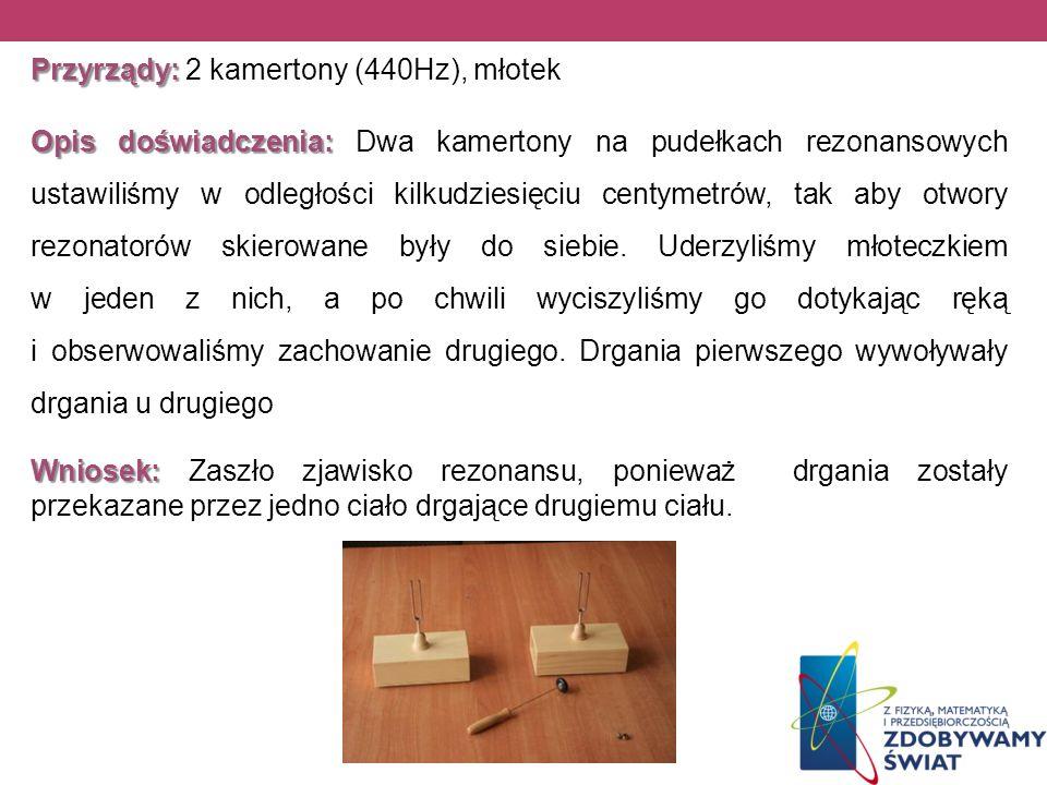 Przyrządy: Przyrządy: 2 kamertony (440Hz), młotek Opis doświadczenia: Opis doświadczenia: Dwa kamertony na pudełkach rezonansowych ustawiliśmy w odleg