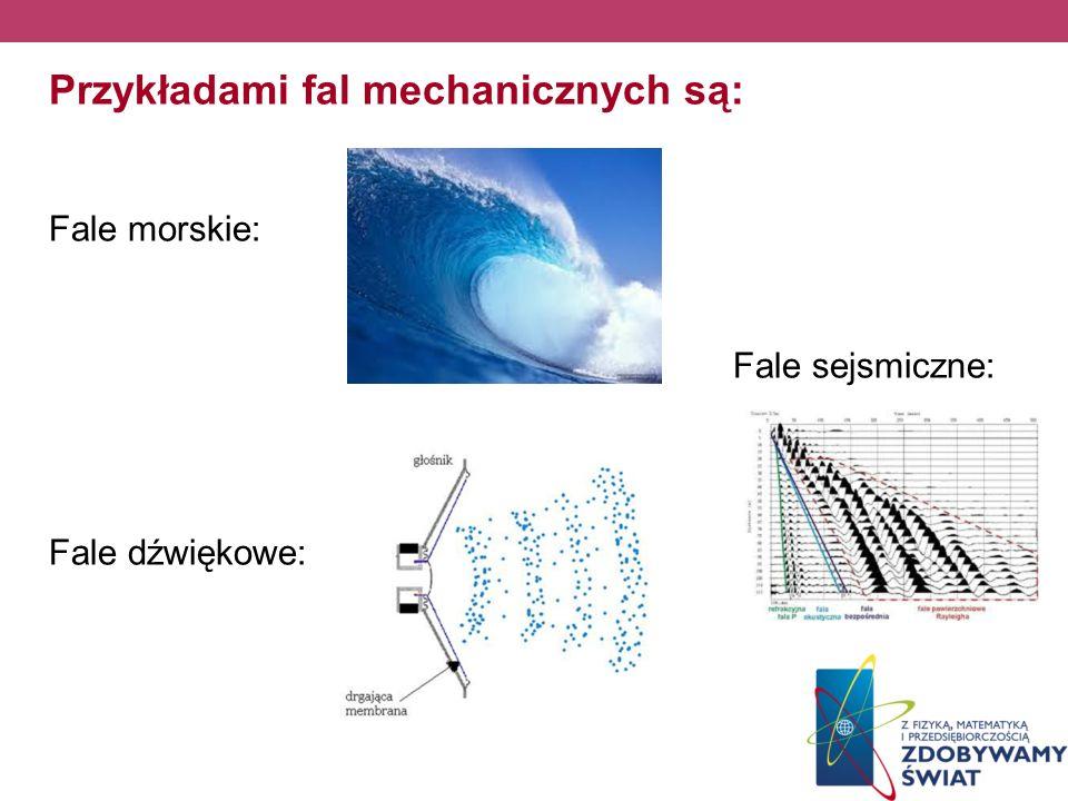Przykładami fal mechanicznych są: Fale morskie: Fale sejsmiczne: Fale dźwiękowe: