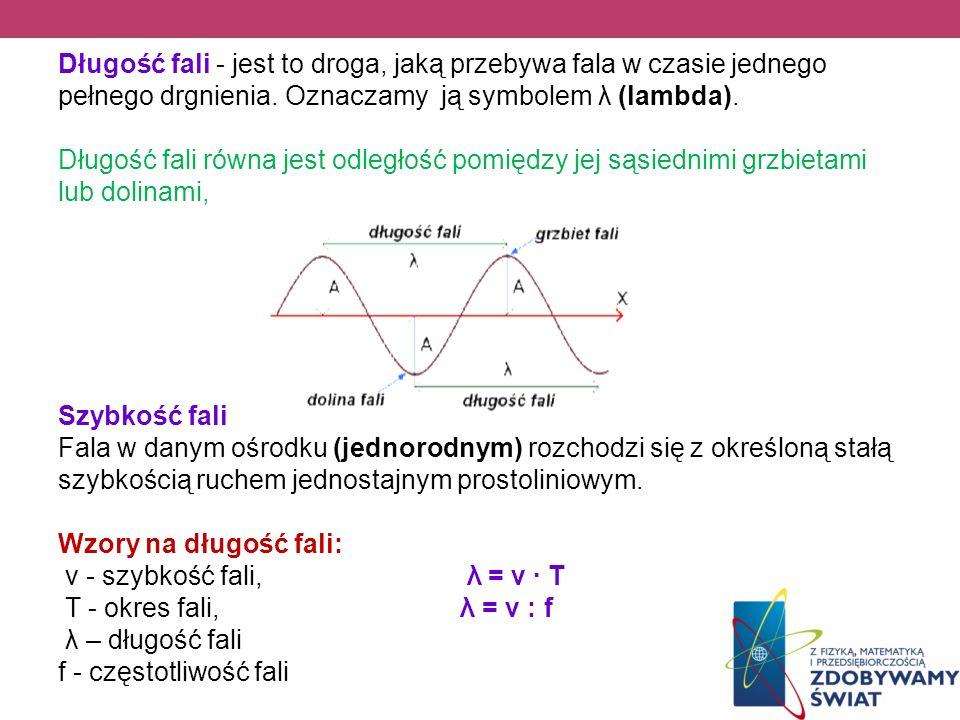 Długość fali - jest to droga, jaką przebywa fala w czasie jednego pełnego drgnienia. Oznaczamy ją symbolem λ (lambda). Długość fali równa jest odległo