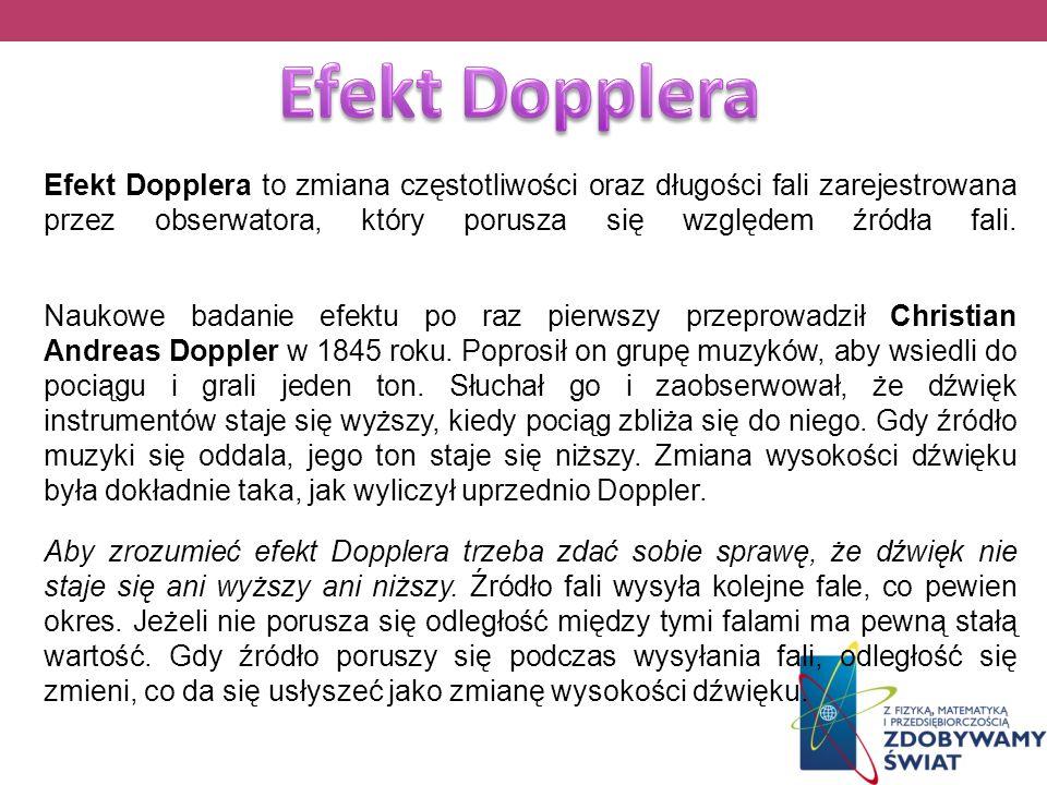 Efekt Dopplera to zmiana częstotliwości oraz długości fali zarejestrowana przez obserwatora, który porusza się względem źródła fali. Naukowe badanie e