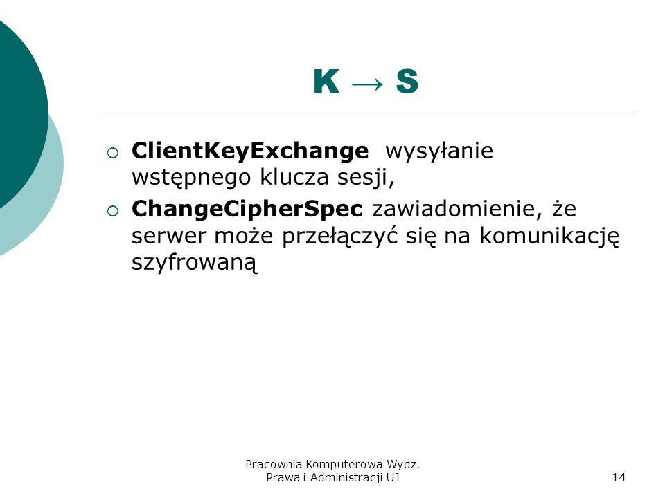 Pracownia Komputerowa Wydz. Prawa i Administracji UJ13 K S ServerHello komunikat w którym zwraca klientowi wybrane parametry połączenia: wersję protok