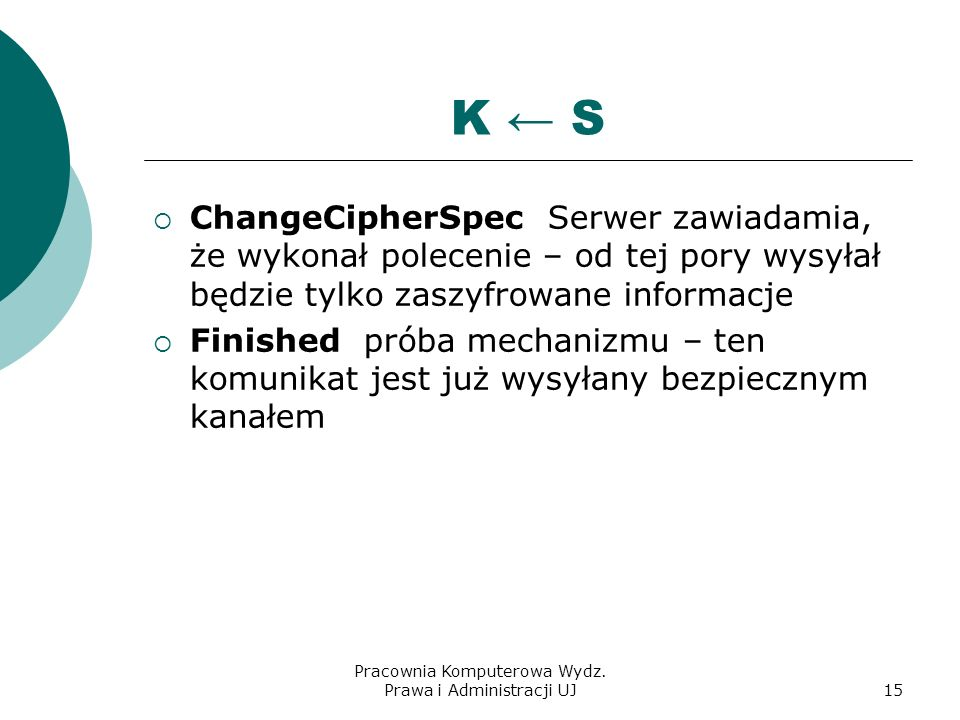 Pracownia Komputerowa Wydz. Prawa i Administracji UJ14 K S ClientKeyExchange wysyłanie wstępnego klucza sesji, ChangeCipherSpec zawiadomienie, że serw