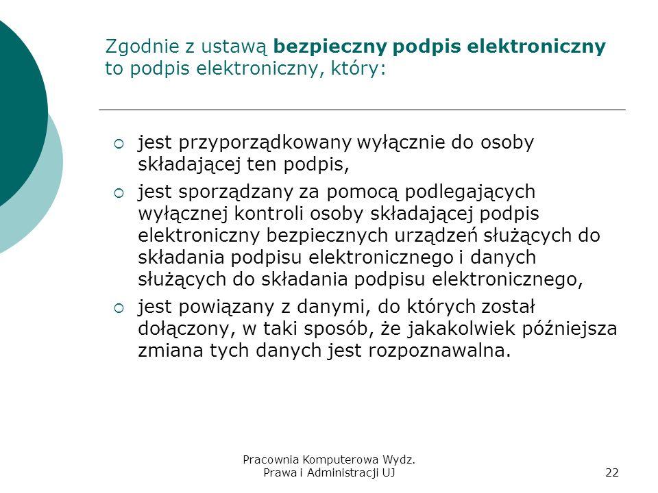 Pracownia Komputerowa Wydz. Prawa i Administracji UJ21 Rodzaje podpisu elektronicznego Podpis powszechny (do wymiany poczty elektronicznej) – nie jest