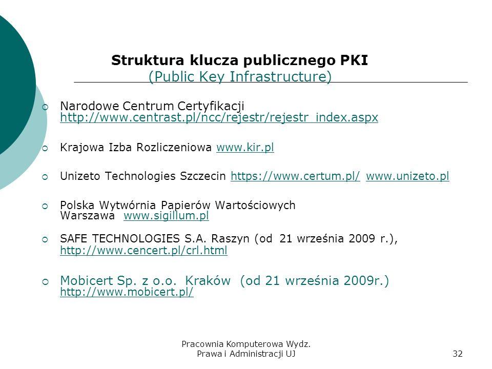 Pracownia Komputerowa Wydz. Prawa i Administracji UJ31 Uregulowania prawne Ustawa o podpisie elektronicznym weszła w życie 16 sierpnia 2002r. Jej prze