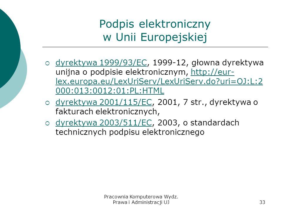 Pracownia Komputerowa Wydz. Prawa i Administracji UJ32 Struktura klucza publicznego PKI (Public Key Infrastructure) Narodowe Centrum Certyfikacji http