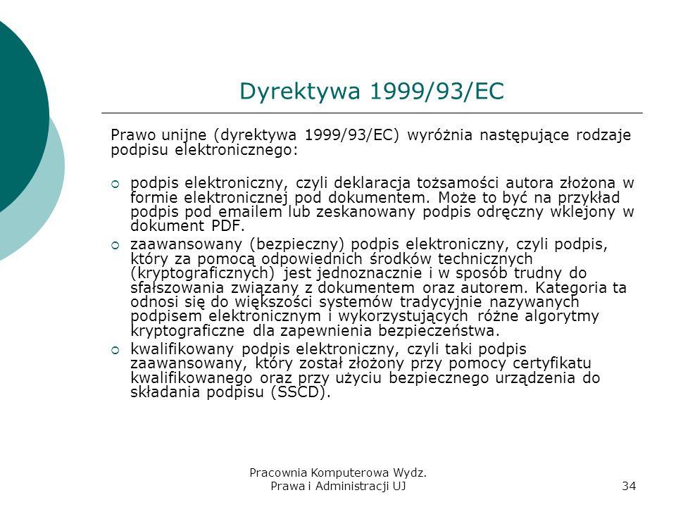 Pracownia Komputerowa Wydz. Prawa i Administracji UJ33 Podpis elektroniczny w Unii Europejskiej dyrektywa 1999/93/EC, 1999-12, głowna dyrektywa unijna