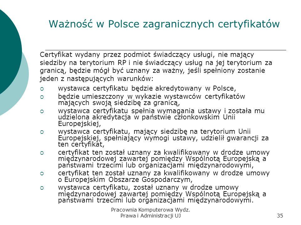 Pracownia Komputerowa Wydz. Prawa i Administracji UJ34 Dyrektywa 1999/93/EC podpis elektroniczny, czyli deklaracja tożsamości autora złożona w formie