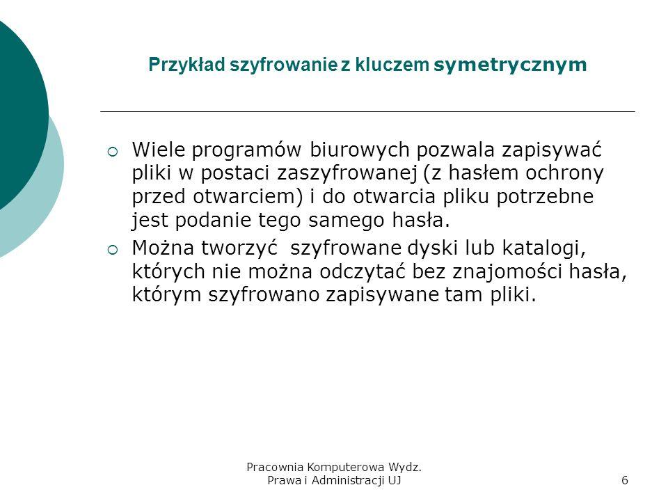 Pracownia Komputerowa Wydz. Prawa i Administracji UJ5 Zasada szyfrowania z kluczem symetrycznym (tajnym)