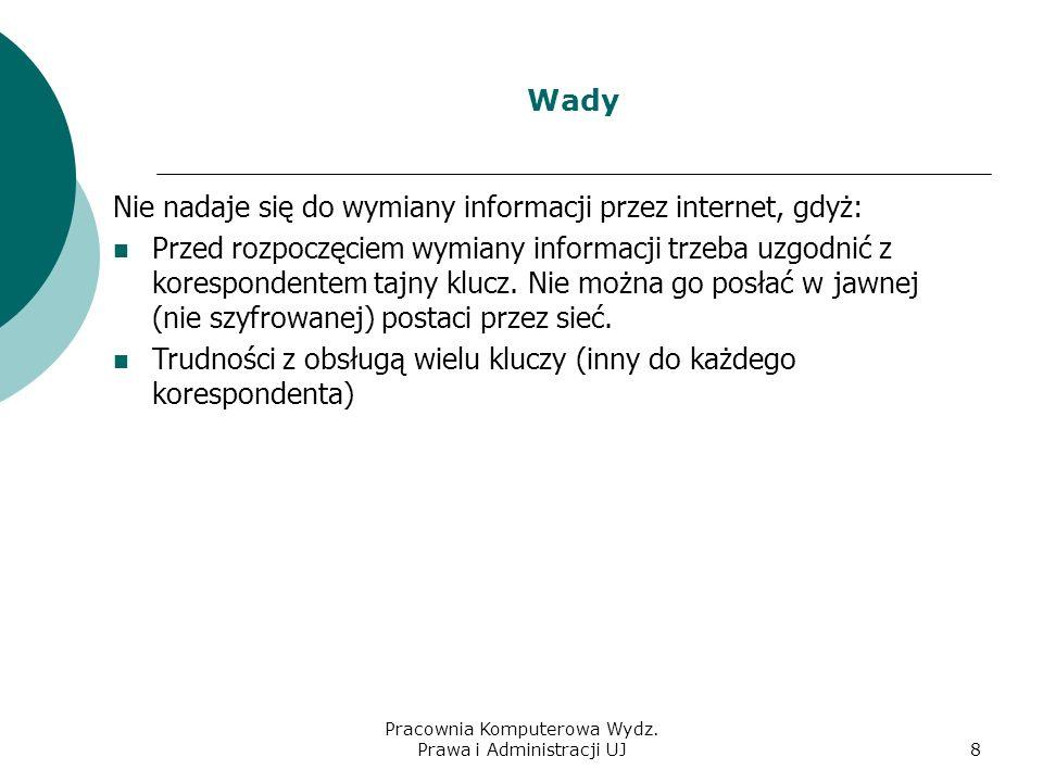 Pracownia Komputerowa Wydz. Prawa i Administracji UJ7 Zalety szyfrowania z kluczem symetrycznym Nieskomplikowane algorytmy szyfrujące Szybkie szyfrowa