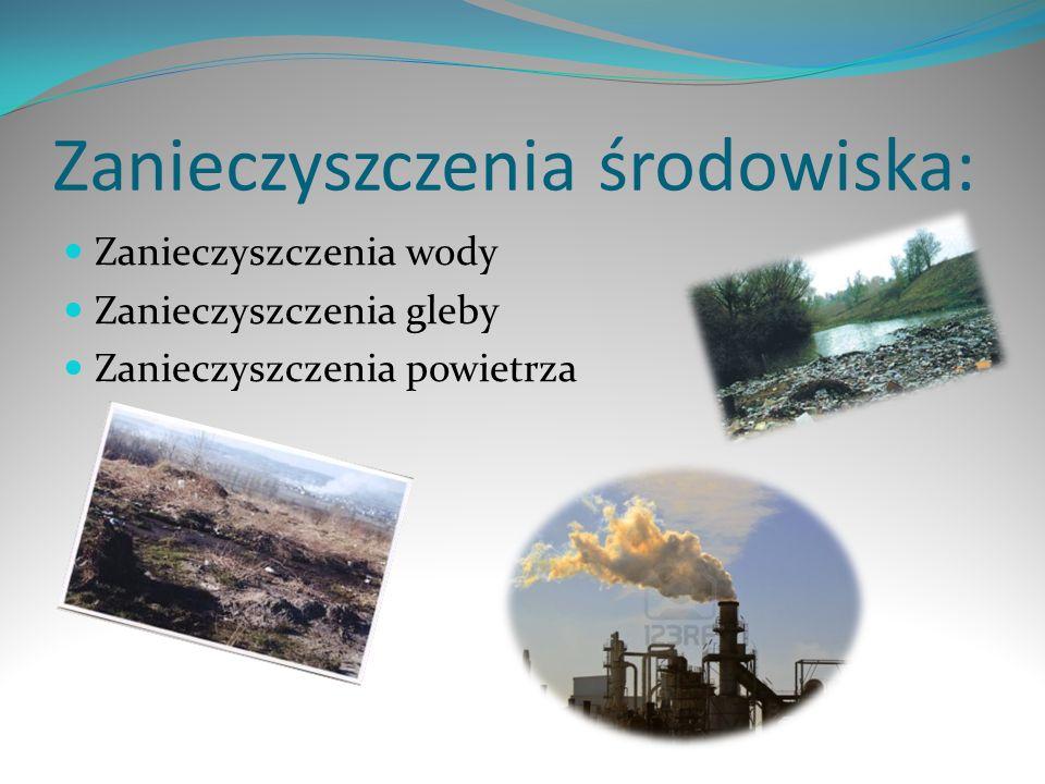 Zanieczyszczenia środowiska: Zanieczyszczenia wody Zanieczyszczenia gleby Zanieczyszczenia powietrza