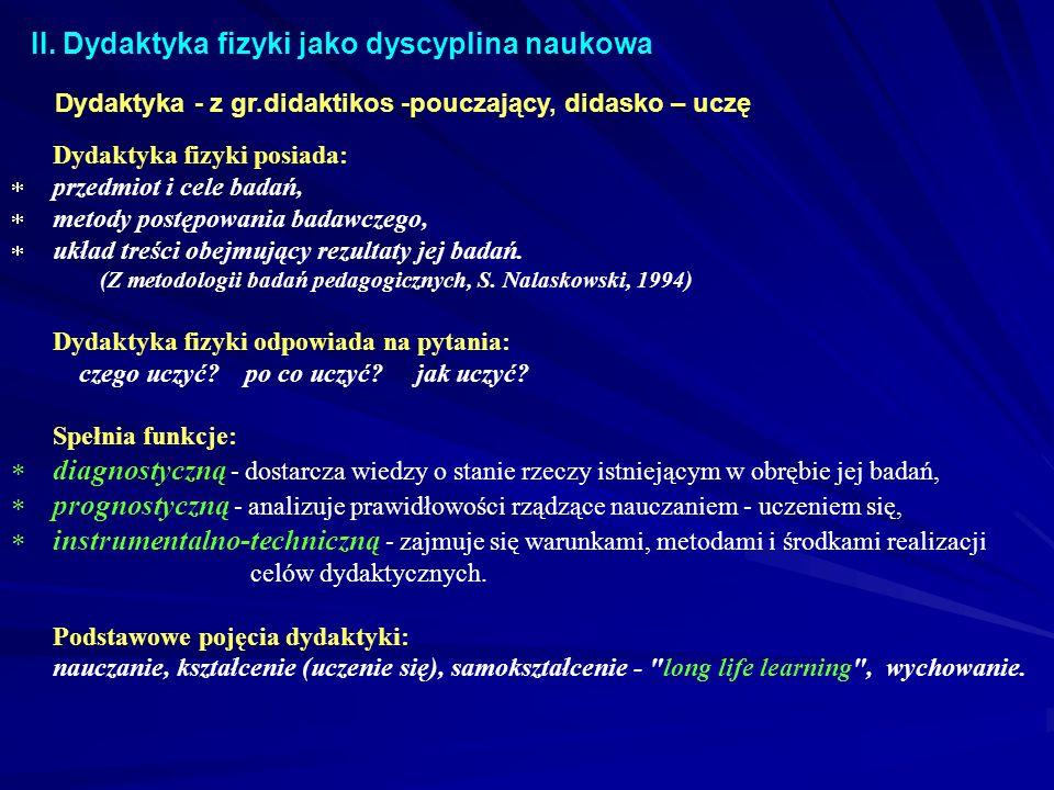 II. Dydaktyka fizyki jako dyscyplina naukowa Dydaktyka fizyki posiada: przedmiot i cele badań, metody postępowania badawczego, układ treści obejmujący