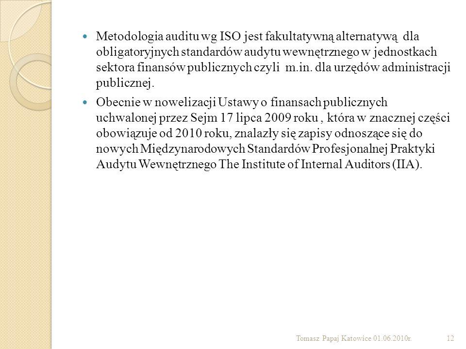 Metodologia auditu wg ISO jest fakultatywną alternatywą dla obligatoryjnych standardów audytu wewnętrznego w jednostkach sektora finansów publicznych