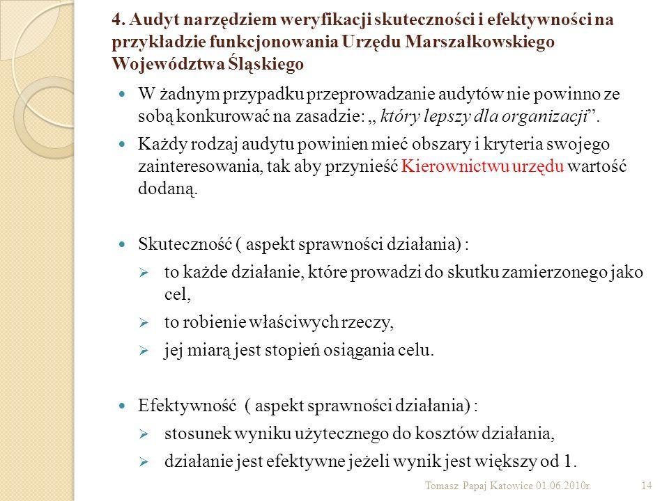 4. Audyt narzędziem weryfikacji skuteczności i efektywności na przykładzie funkcjonowania Urzędu Marszałkowskiego Województwa Śląskiego W żadnym przyp