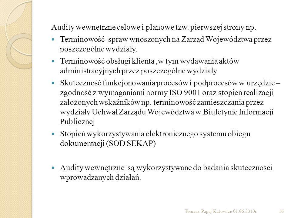 Audity wewnętrzne celowe i planowe tzw. pierwszej strony np. Terminowość spraw wnoszonych na Zarząd Województwa przez poszczególne wydziały. Terminowo