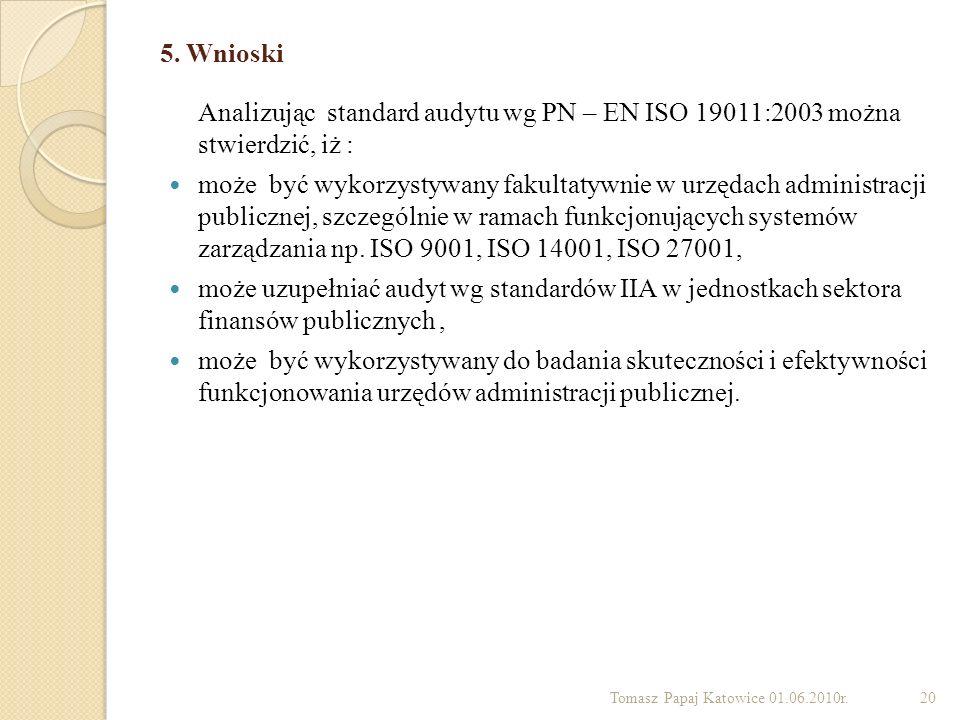 5. Wnioski Analizując standard audytu wg PN – EN ISO 19011:2003 można stwierdzić, iż : może być wykorzystywany fakultatywnie w urzędach administracji