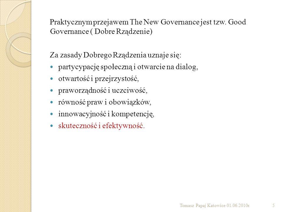 Praktycznym przejawem The New Governance jest tzw. Good Governance ( Dobre Rządzenie) Za zasady Dobrego Rządzenia uznaje się: partycypację społeczną i