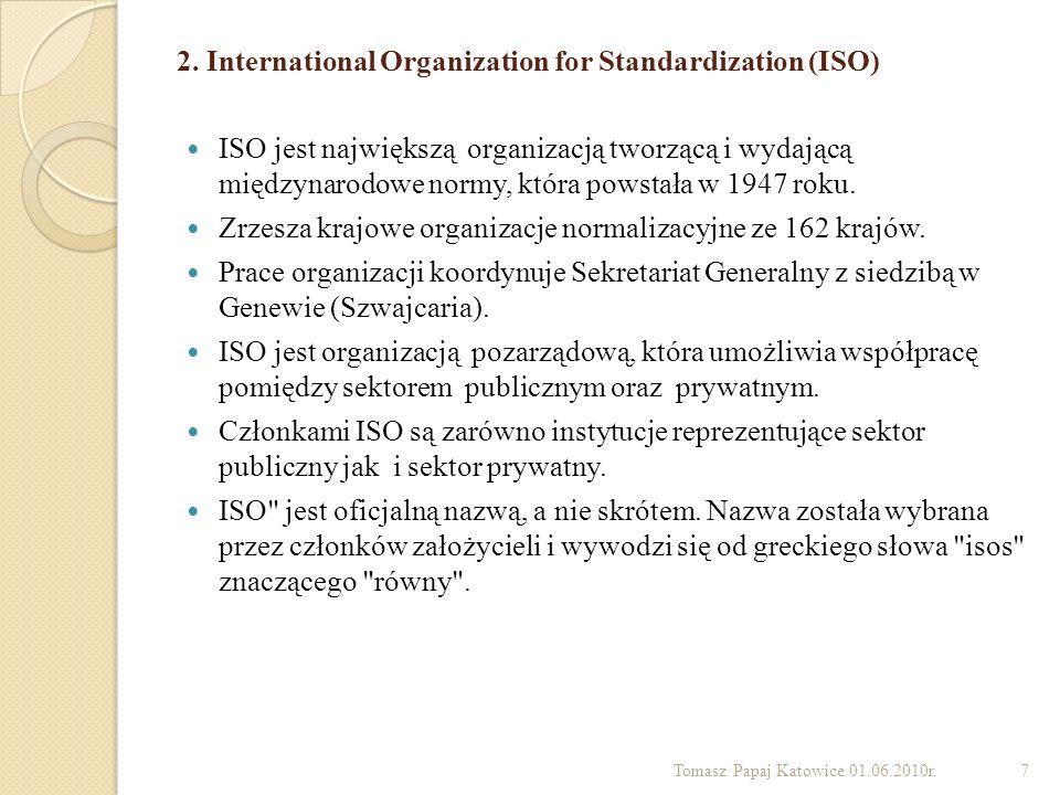 2. International Organization for Standardization (ISO) ISO jest największą organizacją tworzącą i wydającą międzynarodowe normy, która powstała w 194
