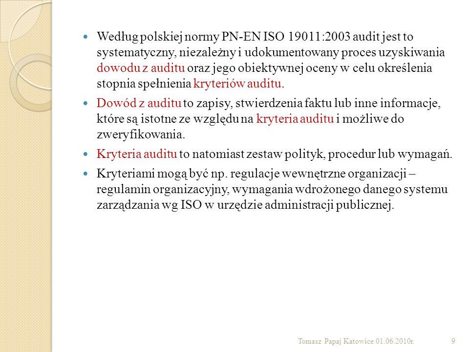 Według polskiej normy PN-EN ISO 19011:2003 audit jest to systematyczny, niezależny i udokumentowany proces uzyskiwania dowodu z auditu oraz jego obiek