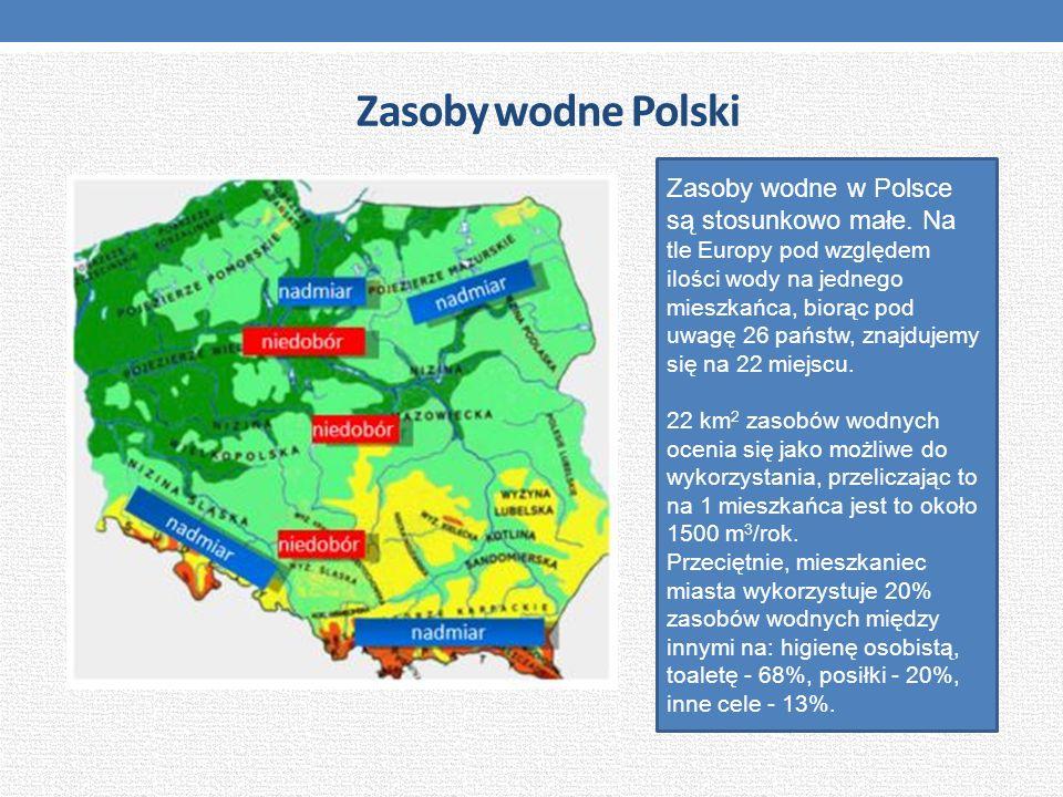 Zasoby wodne Polski Zasoby wodne w Polsce są stosunkowo małe. Na tle Europy pod względem ilości wody na jednego mieszkańca, biorąc pod uwagę 26 państw