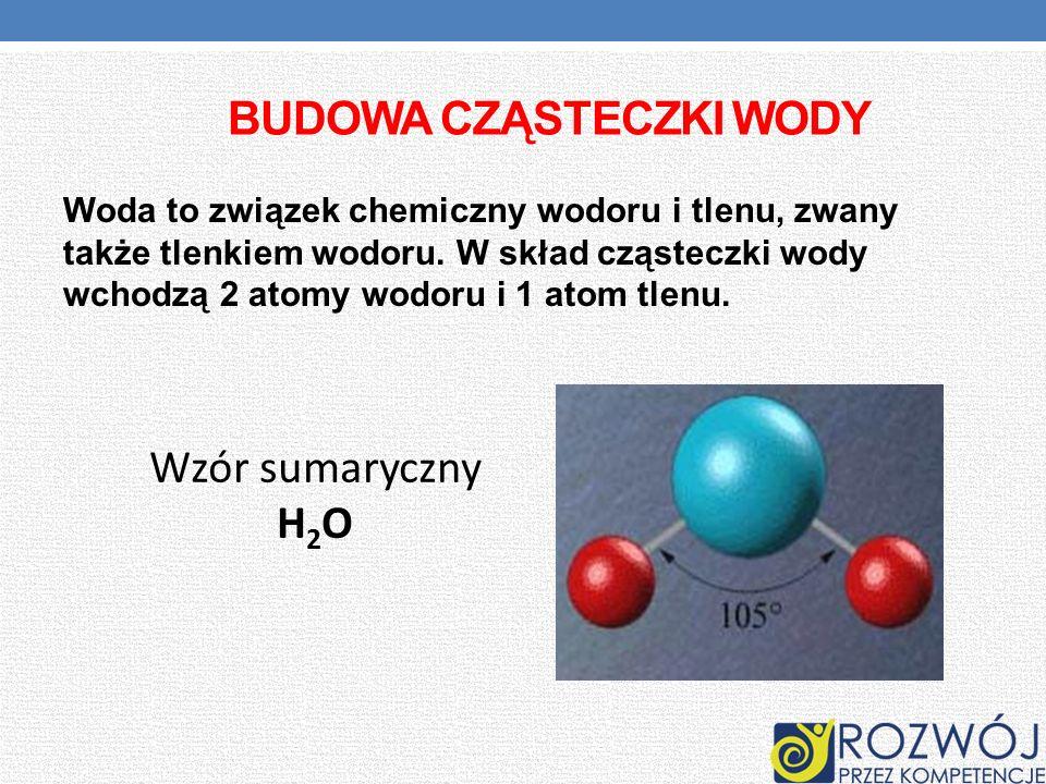 BUDOWA CZĄSTECZKI WODY Woda to związek chemiczny wodoru i tlenu, zwany także tlenkiem wodoru. W skład cząsteczki wody wchodzą 2 atomy wodoru i 1 atom