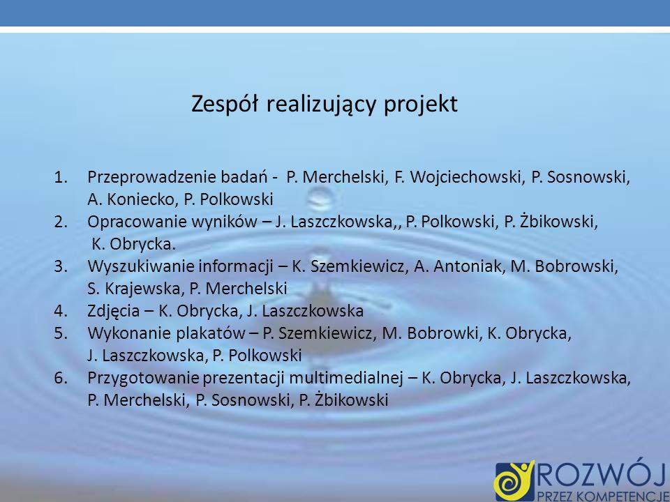 Zespół realizujący projekt 1.Przeprowadzenie badań - P. Merchelski, F. Wojciechowski, P. Sosnowski, A. Koniecko, P. Polkowski 2.Opracowanie wyników –