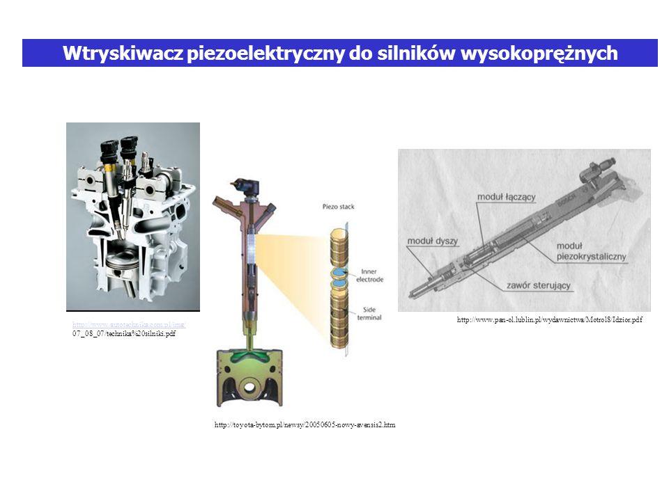Wtryskiwacz piezoelektryczny do silników wysokoprężnych http://www.autotechnika.com.pl/img/ 07_08_07/technika%20silniki.pdf http://www.pan-ol.lublin.pl/wydawnictwa/Motrol8/Idzior.pdf http://toyota-bytom.pl/newsy/20050605-nowy-avensis2.htm