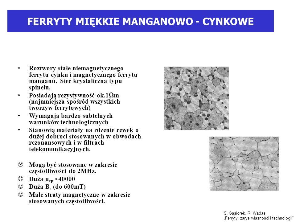 FERRYTY MIĘKKIE MANGANOWO - CYNKOWE Roztwory stałe niemagnetycznego ferrytu cynku i magnetycznego ferrytu manganu.