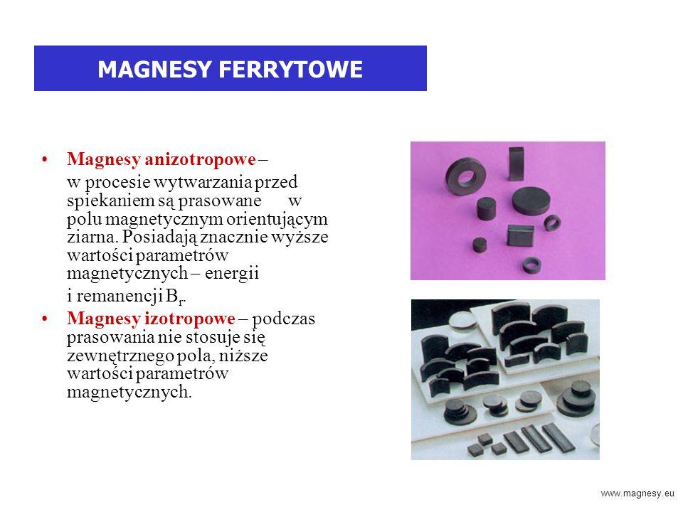 MAGNESY FERRYTOWE Magnesy anizotropowe – w procesie wytwarzania przed spiekaniem są prasowane w polu magnetycznym orientującym ziarna.