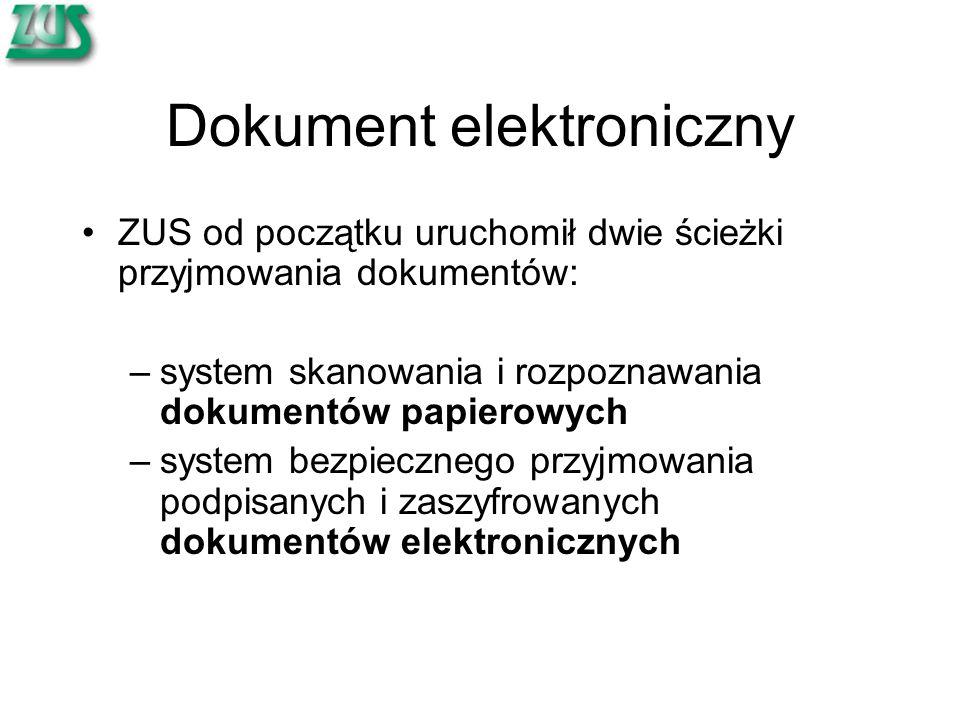 Dokument elektroniczny ZUS od początku uruchomił dwie ścieżki przyjmowania dokumentów: –system skanowania i rozpoznawania dokumentów papierowych –system bezpiecznego przyjmowania podpisanych i zaszyfrowanych dokumentów elektronicznych