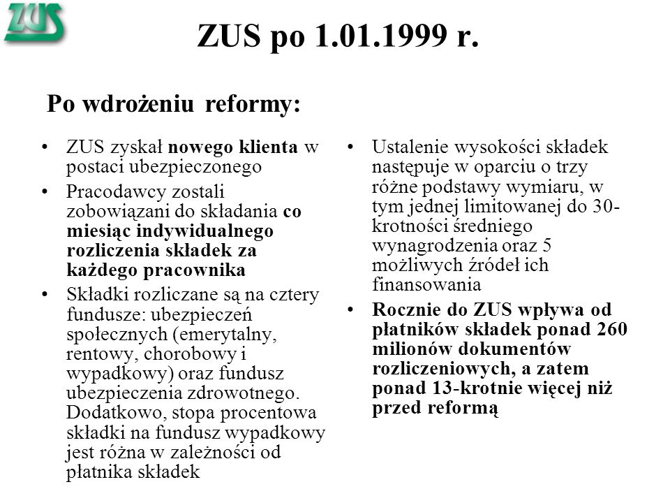 ZUS po 1.01.1999 r. ZUS zyskał nowego klienta w postaci ubezpieczonego Pracodawcy zostali zobowiązani do składania co miesiąc indywidualnego rozliczen