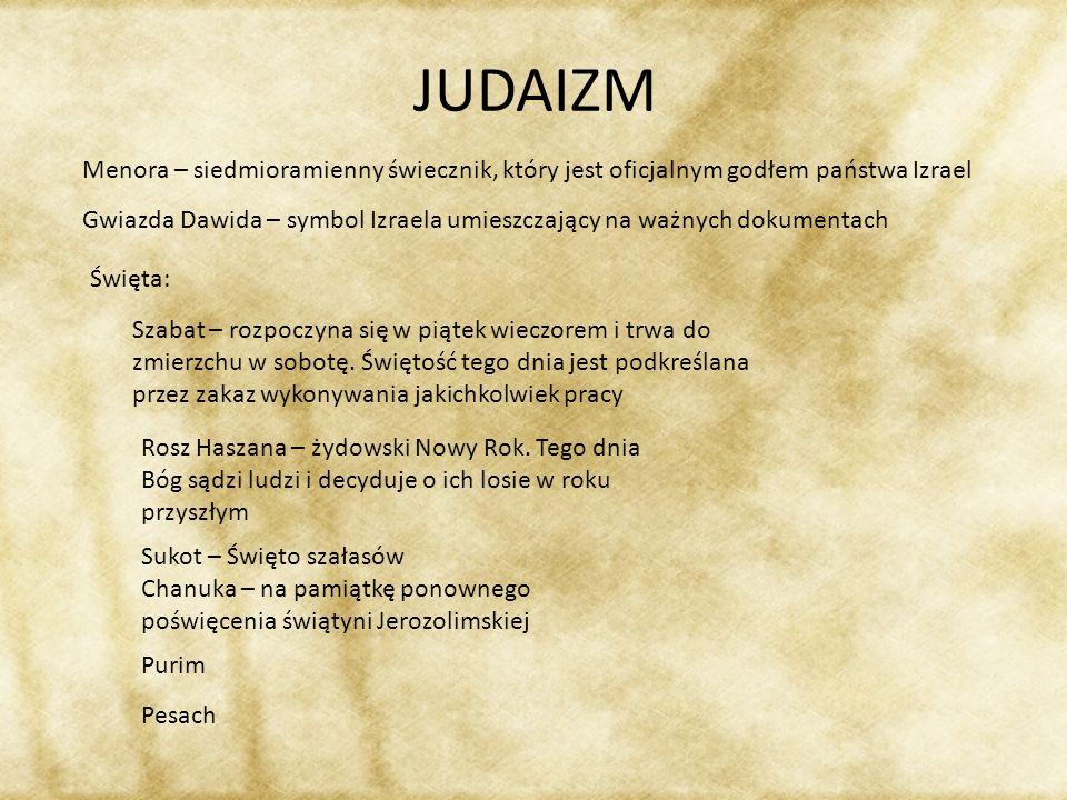 JUDAIZM Menora – siedmioramienny świecznik, który jest oficjalnym godłem państwa Izrael Gwiazda Dawida – symbol Izraela umieszczający na ważnych dokum