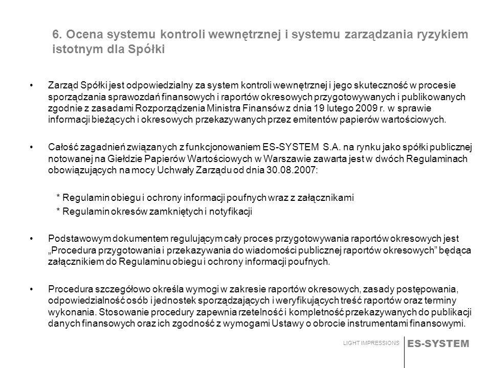 ES-SYSTEM LIGHT IMPRESSIONS 6. Ocena systemu kontroli wewnętrznej i systemu zarządzania ryzykiem istotnym dla Spółki Zarząd Spółki jest odpowiedzialny