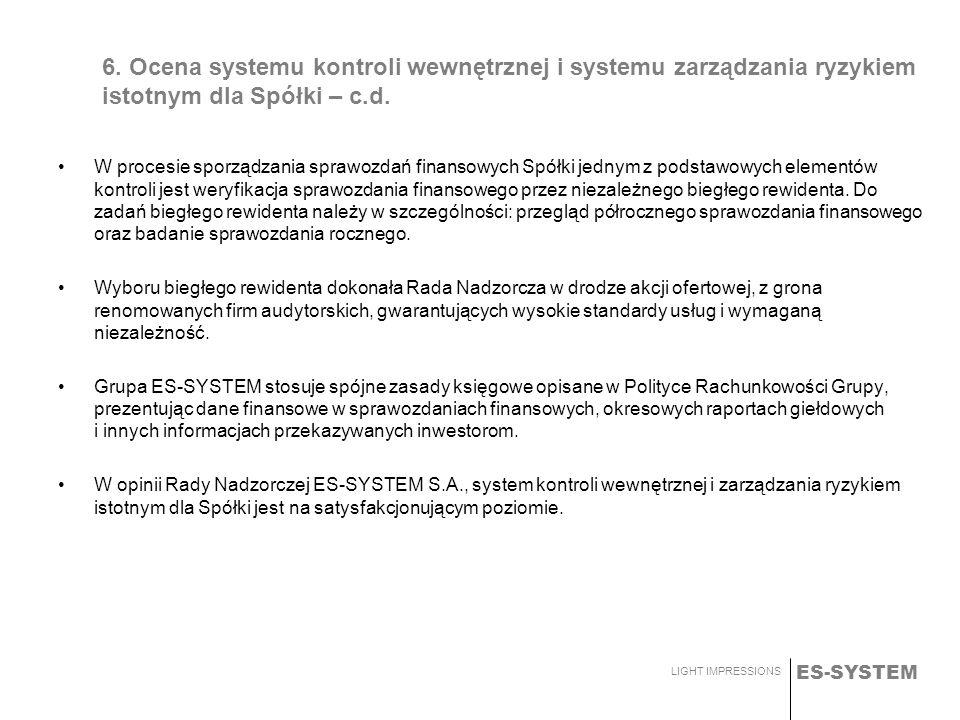 ES-SYSTEM LIGHT IMPRESSIONS 6. Ocena systemu kontroli wewnętrznej i systemu zarządzania ryzykiem istotnym dla Spółki – c.d. W procesie sporządzania sp