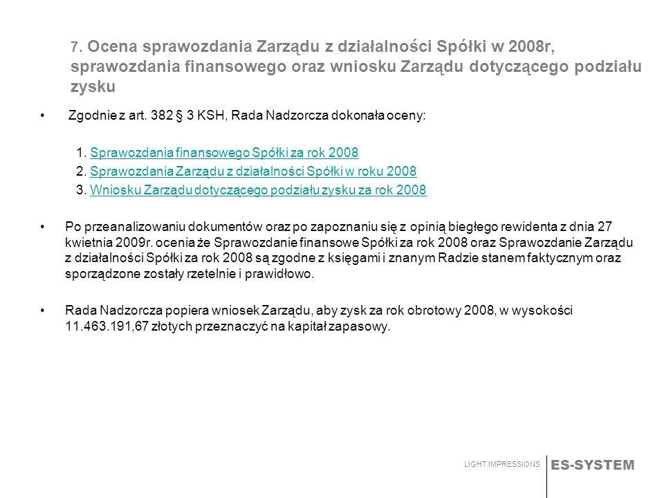ES-SYSTEM LIGHT IMPRESSIONS 7. Ocena sprawozdania Zarządu z działalności Spółki w 2008r, sprawozdania finansowego oraz wniosku Zarządu dotyczącego pod