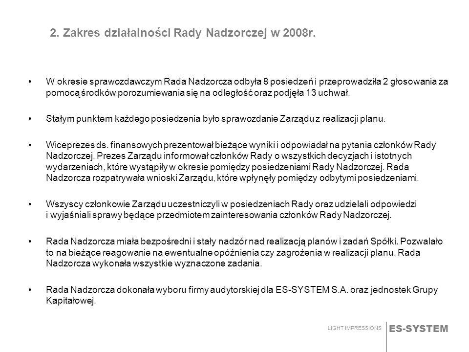ES-SYSTEM LIGHT IMPRESSIONS 2. Zakres działalności Rady Nadzorczej w 2008r. W okresie sprawozdawczym Rada Nadzorcza odbyła 8 posiedzeń i przeprowadził