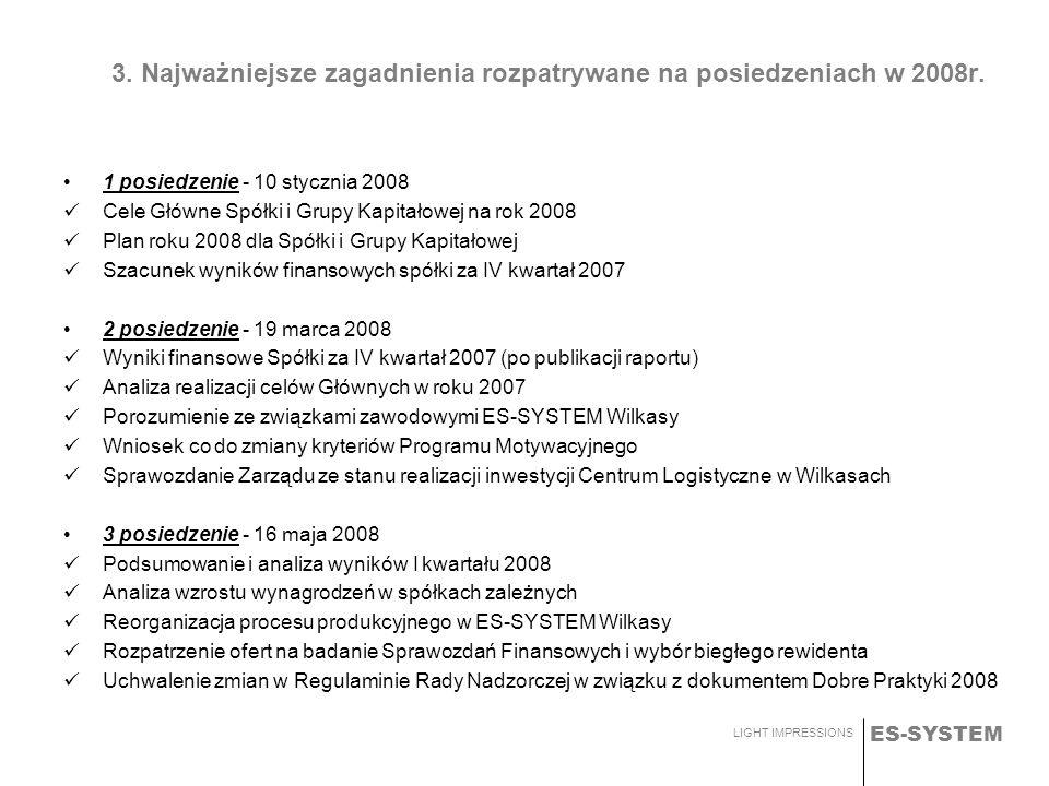 ES-SYSTEM LIGHT IMPRESSIONS 3. Najważniejsze zagadnienia rozpatrywane na posiedzeniach w 2008r. 1 posiedzenie - 10 stycznia 2008 Cele Główne Spółki i