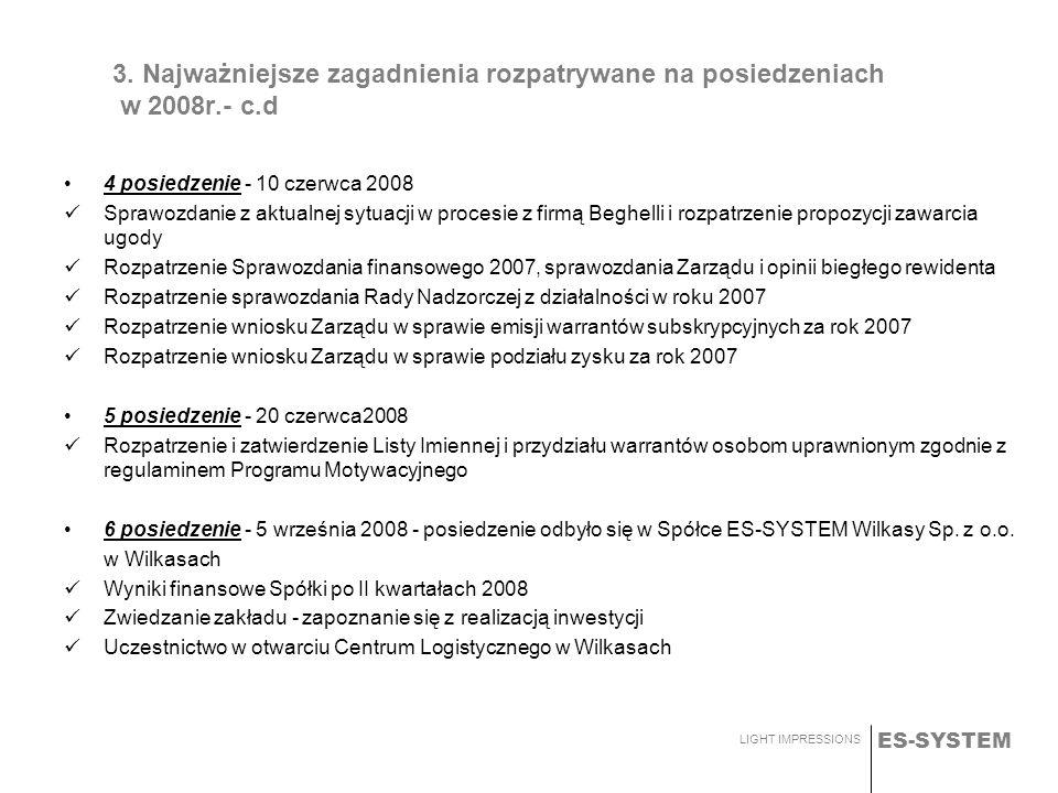 ES-SYSTEM LIGHT IMPRESSIONS 3. Najważniejsze zagadnienia rozpatrywane na posiedzeniach w 2008r.- c.d 4 posiedzenie - 10 czerwca 2008 Sprawozdanie z ak