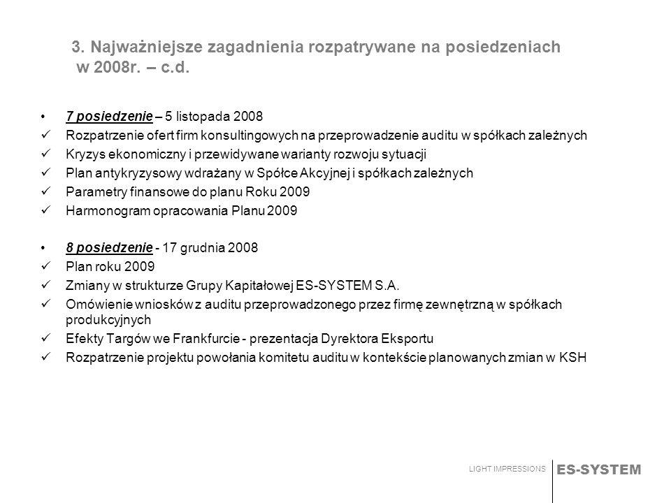 ES-SYSTEM LIGHT IMPRESSIONS 3. Najważniejsze zagadnienia rozpatrywane na posiedzeniach w 2008r. – c.d. 7 posiedzenie – 5 listopada 2008 Rozpatrzenie o
