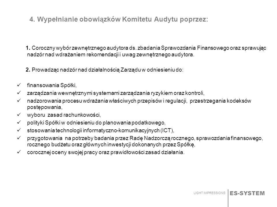 ES-SYSTEM LIGHT IMPRESSIONS 4. Wypełnianie obowiązków Komitetu Audytu poprzez: 1. Coroczny wybór zewnętrznego audytora ds. zbadania Sprawozdania Finan