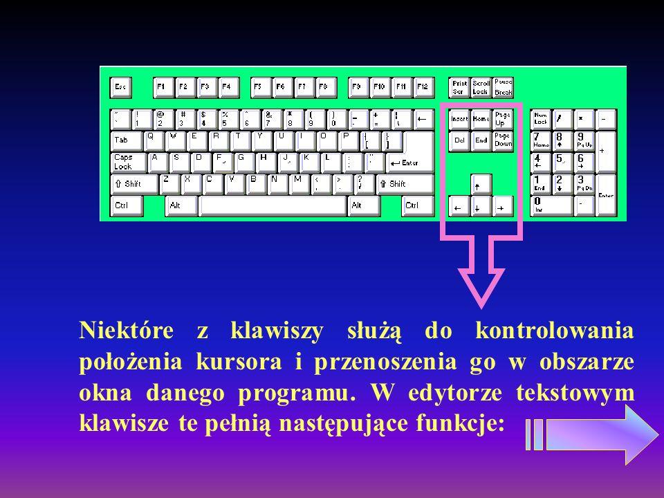 CtrlAlt Klawiszy tych używa się zawsze w kombinacji z innymi, w celu uruchomienia dodatkowych funkcji dostępnych w programie.