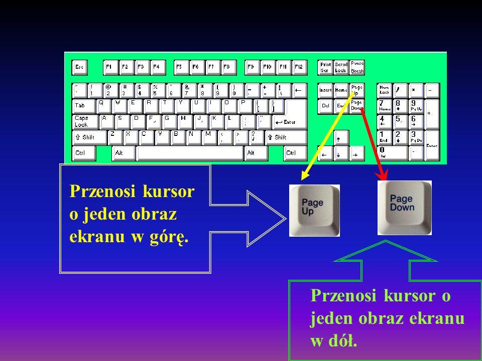 End Klawisz End przenosi kursor na koniec wiersza. W połączeniu z klawiszem CTRL przenosi kursor na koniec tekstu.