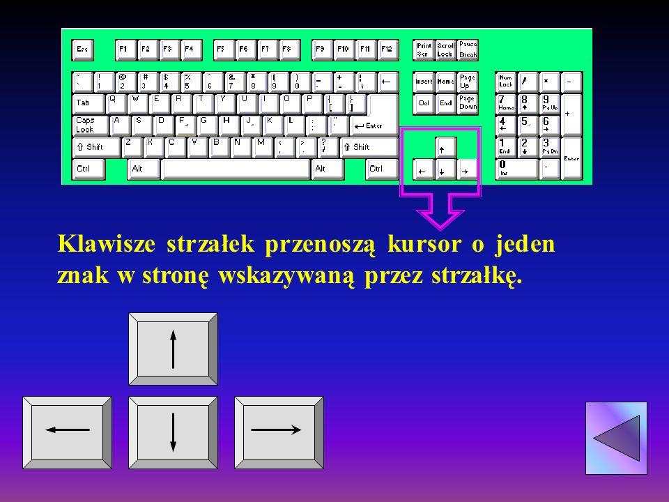 Przenosi kursor o jeden obraz ekranu w dół. Przenosi kursor o jeden obraz ekranu w górę.