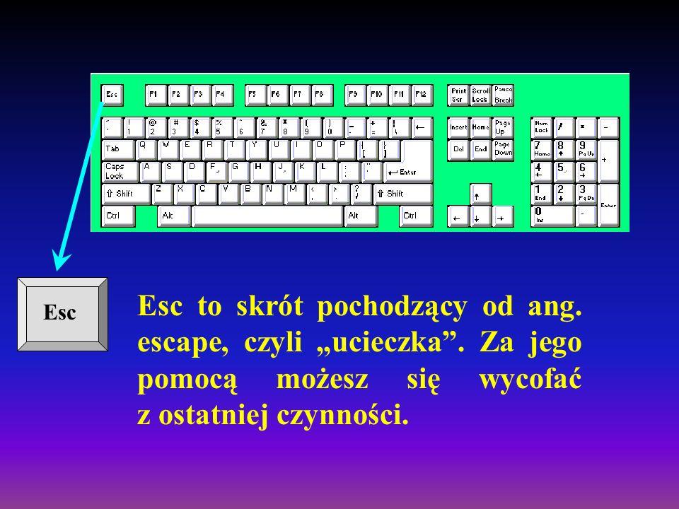 W górnej części klawiatury znajdują się klawisze funkcyjne. Funkcje udostępniane przez te klawisze są zależne od programu, z którym się pracuje. W wię