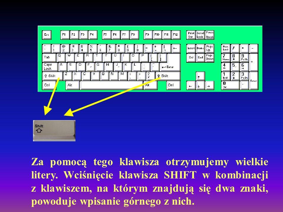 Za pomocą tego klawisza otrzymujemy wielkie litery.