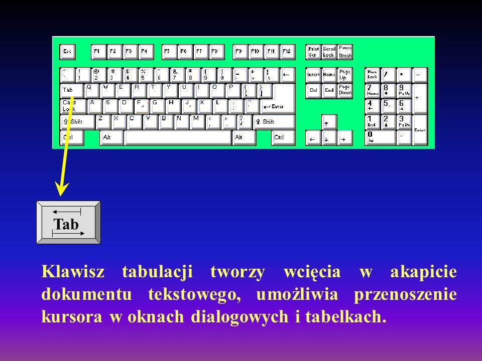 Za pomocą tego klawisza otrzymujemy wielkie litery. Wciśnięcie klawisza SHIFT w kombinacji z klawiszem, na którym znajdują się dwa znaki, powoduje wpi