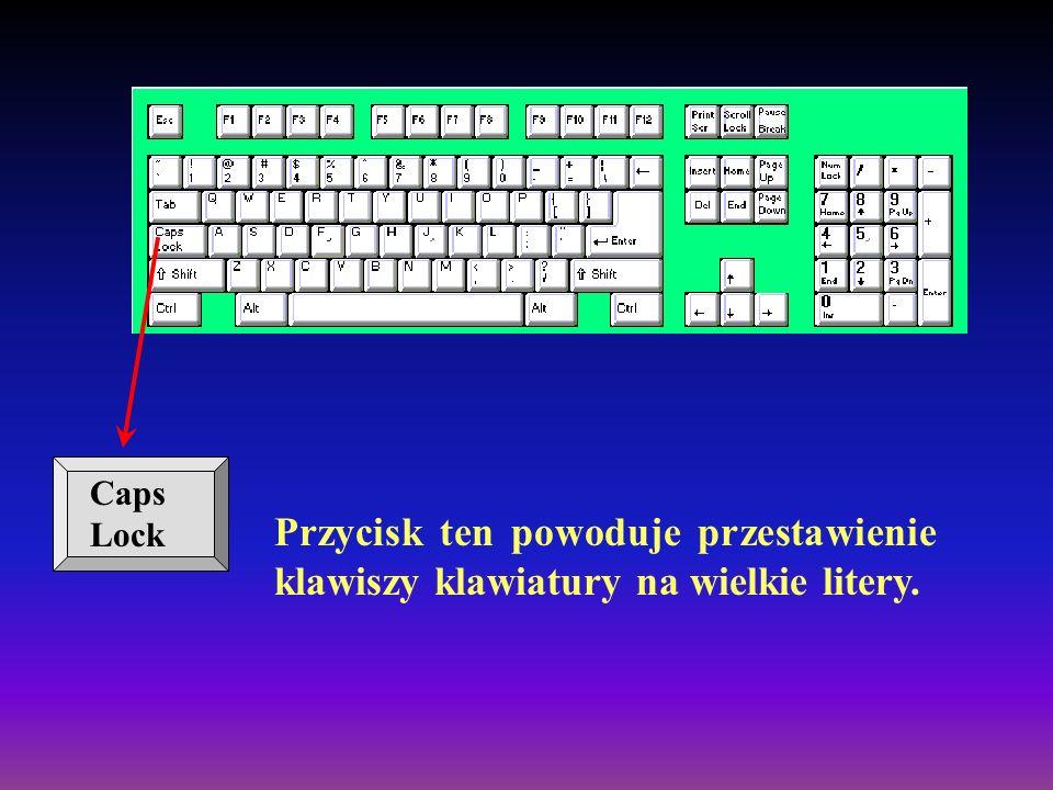 Tab Klawisz tabulacji tworzy wcięcia w akapicie dokumentu tekstowego, umożliwia przenoszenie kursora w oknach dialogowych i tabelkach.