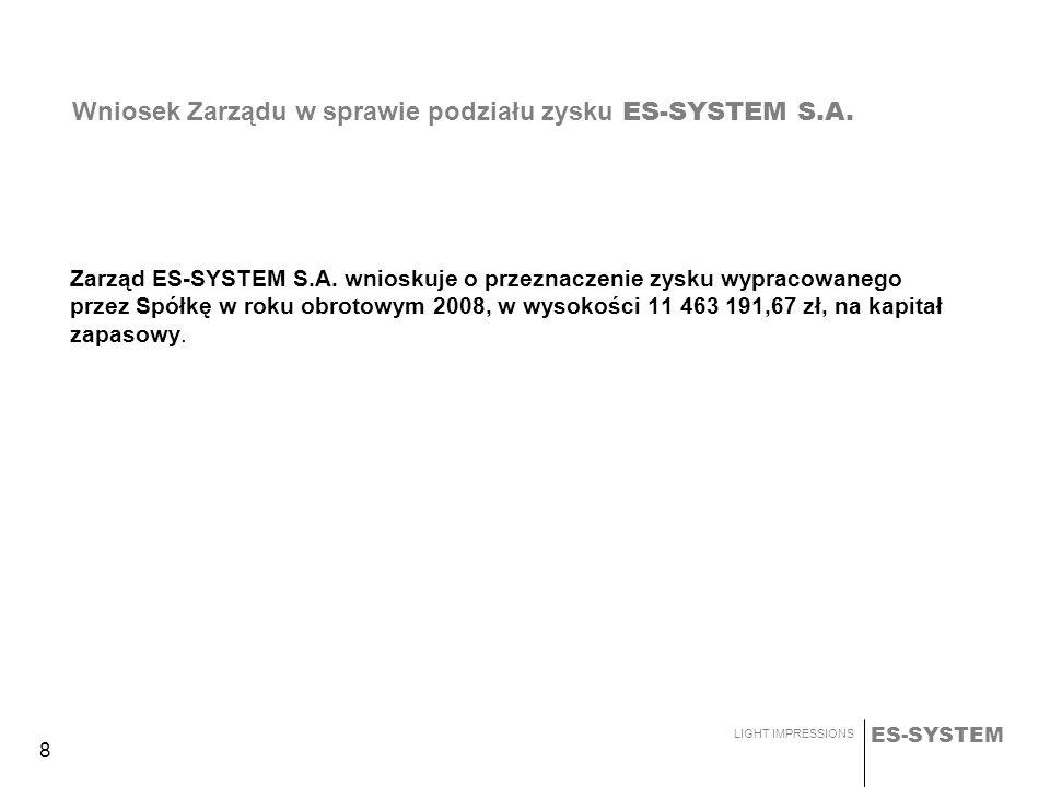ES-SYSTEM LIGHT IMPRESSIONS 19 Solidne fundamenty - szczególnie finansowe Ugruntowana pozycja w kraju Znana marka Stabilny zespół ekspertów ES-SYSTEM DZIŚ ES-SYSTEM 2009-2010 Efekty Inwestycji WZROST - mocy produkcyjnych - efektywności - jakości produktów Umacnianie Pozycji Lidera: - Rozwój Organiczny - Wiedza + doświadczenie cenne w kryzysie Strategia działania - Szczegółowa analiza rynków i potencjalnych podmiotów - Działania skorelowane ze zmianami otoczenia gospodarczego design Badania i rozwój jakość innowacyjność Najwyższy poziom produktów ES-SYSTEM - dokąd zmierzamy ?
