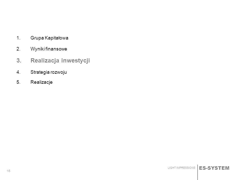 ES-SYSTEM LIGHT IMPRESSIONS 15 1.Grupa Kapitałowa 2.Wyniki finansowe 3.Realizacja inwestycji 4. Strategia rozwoju 5. Realizacje