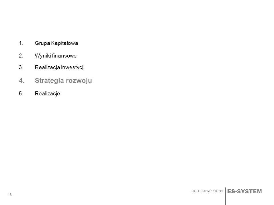 ES-SYSTEM LIGHT IMPRESSIONS 18 1.Grupa Kapitałowa 2.Wyniki finansowe 3.Realizacja inwestycji 4. Strategia rozwoju 5. Realizacje